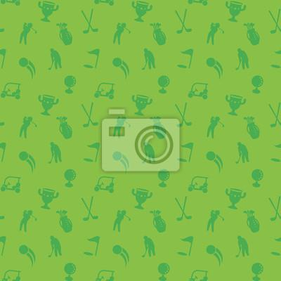 szwu z ikon golfowych, zielony bez szwu tła, wózek golfowy, kije, piłka, golfa, golf worku, ilustracji wektorowych