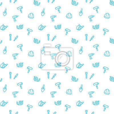 szwu z narzędzi budowlanych i ikony urządzenia liniowe, niebieski na białym