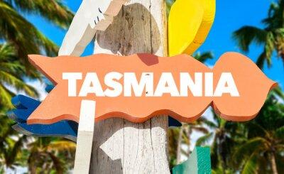 Plakat Tasmania zadowoleniem powitać z palmami