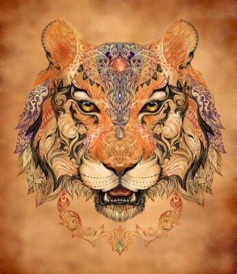 Plakat Tatuaż, grafika głowa tygrysa