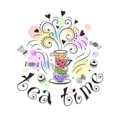 Plakat Tea time koncepcja plakatu. Konstrukcja karty Tea Party. Ręcznie rysowane doodle ilustracja z czajniki, kubki i słodyczy.