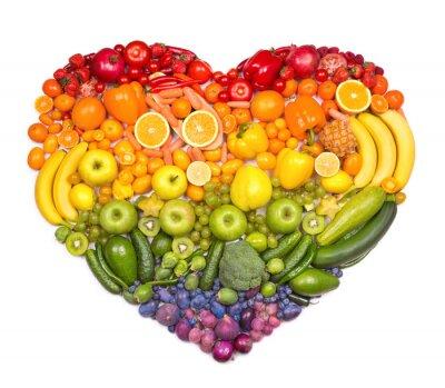 Plakat Tęcza serca z owoców i warzyw