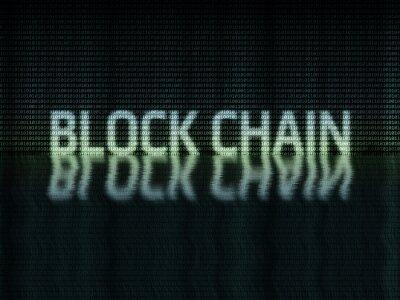 Tekst łańcucha blokowego napisany w formacie binarnym (zero-jeden) z falowaniem wody odzwierciedla efekt na ciemnym tle. Koncepcja rozproszonej sieci zdecentralizowanej.