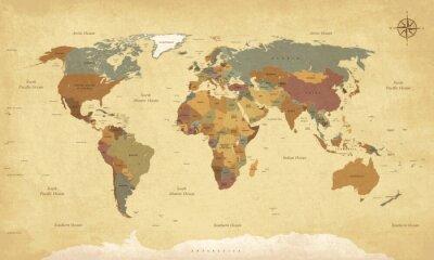 Plakat Teksturowane rocznika mapie świata - Etykiety English / US - Wektor CMYK