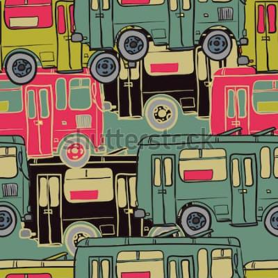 Plakat Tekstylny wzór kolorowych autobusów