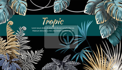 Plakat Template banner dark leaves of tropical exotic plants. Background jungle with palm trees and lianas. Vector 3d illustration with space for text.