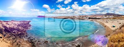 Tenerife wyspa dekoracje. Ocean i piękny kamień. Charakter malownicze pejzaże na Wyspach Kanaryjskich