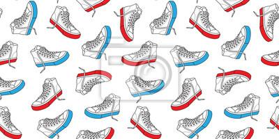 Tenisówka buta bezszwowe wzór płótno doodle wektor na białym tle tapeta tło czerwony & niebieski