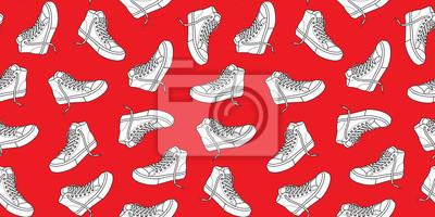 Tenisówka obuwianego bezszwowego deseniowego kanwy doodle wektor odizolowywał tapetową tło czerwień