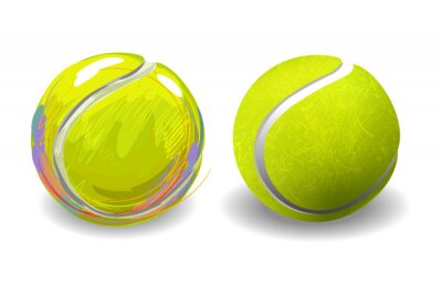 Plakat Tennis Ball na białym tle. Wszystkie elementy są w oddzielnych warstwach i pogrupowane.