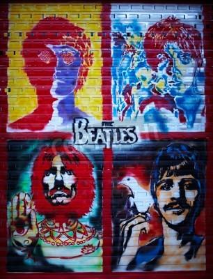 Plakat The Beatles uliczne graffiti ściany w Moskwie, Stroitelei