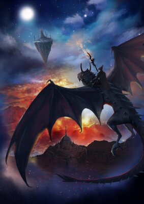 Plakat The dragon warrior are sitting on the dragon flying to the floating island with sky and burning background.  2D artwork.