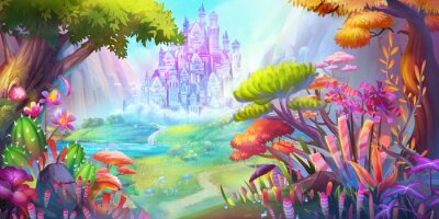Plakat The Forest and Castle. Mountain and River. Fiction Backdrop. Concept Art. Realistic Illustration. Video Game Digital CG Artwork. Nature Scenery.