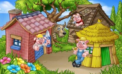 Plakat The Three Little Pigs Fairytale Scene