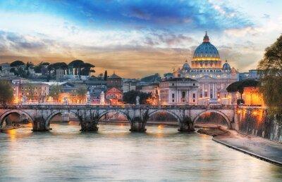 Plakat Tiber i St Peter Bazylika w Watykanie z tęczy, Rzym