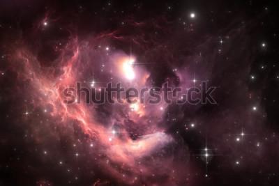 Plakat Tło przestrzeni nocnego nieba z mgławicy i gwiazd, ilustracja