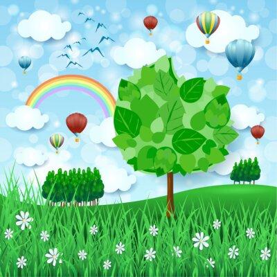 Plakat Tło wiosna z wielkim drzewa i balonów na ogrzane powietrze