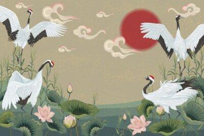 Plakat tło z japońskimi żurawiami o zachodzie słońca