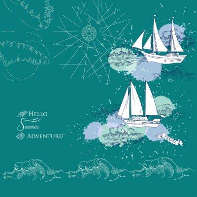 Plakat Tło z okrętów i waves.Hand poprowadzoną morze, fale i jachtów. Ilustracja wektorowa