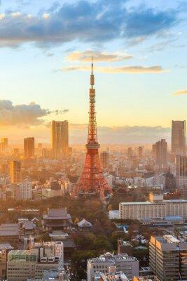 Plakat Tokio panoramę miasta na zachód słońca w Tokio