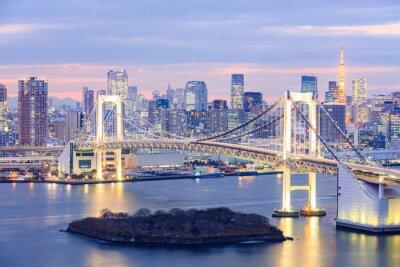 Plakat Tokio panoramę z wieży Tokio i tęczowy most