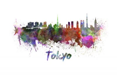Plakat Tokio skyline w akwareli