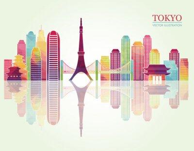 Plakat Tokio szczegółowe horyzontu. ilustracji wektorowych