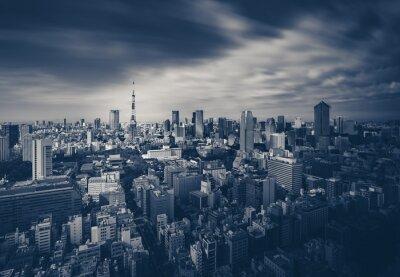 Plakat Tokio widok na miasto i Tokio Tower w ciemnej tonacji