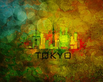 Plakat Tokyo City Skyline na tle grunge Ilustracja