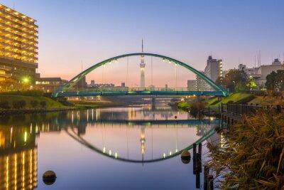 Plakat Tokyo Skytree i kolorowe mostu w refleksyjną