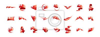 Tonga flag, vector illustration on a white background.