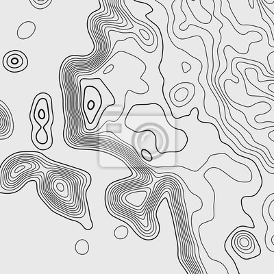 Topographic map. Black lines on white background. Contour abstract background. Vector illustration.
