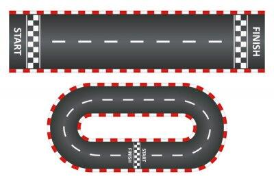 Plakat Tor wyścigowy, widok z góry zestawu dróg asfaltowych, wyścig gokartowy z linią startu i mety. Ilustracji wektorowych.
