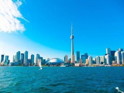 Plakat Toronto panoramę miasta z promu jedzie do centrum wyspy