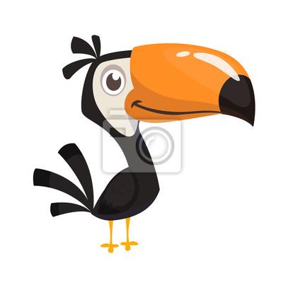 Plakat Toucan cartoon. Vector icon of toucan bird. Exotic colorful bird illustration