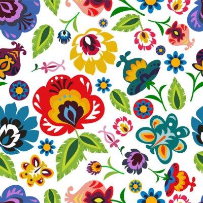 Plakat Tradycyjna polska ludowa kwiatowy wzór wektora