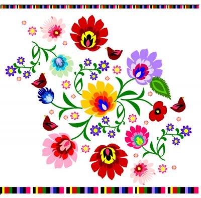 Plakat Tradycyjny polski folk wektor kwiatowy wzór