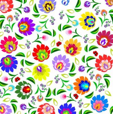 Plakat Tradycyjny polski ludowy wzór kwiatowy wektor