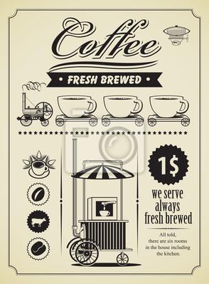 Transparent motyw kawy retro