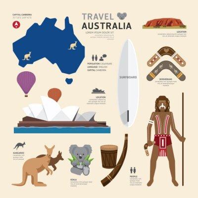 Plakat Travel Concept Australia Landmark Flat Icons Design .Vector Illu