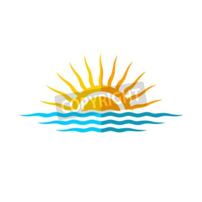 Plakat Travel logo szablonu. Sun z fal morskich.