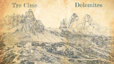Plakat Tre Cime di Lavaredo in Dolomites, Italy, sketch on paper