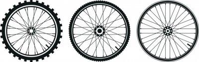 Plakat tre tipi di ruota di bicicletta in vettoriale