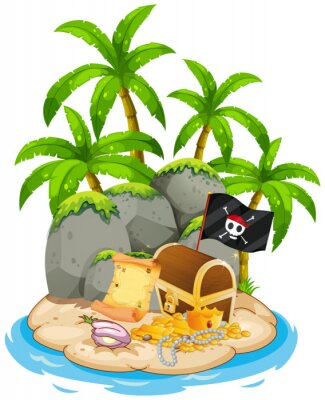 Plakat Treasure on island beach scene