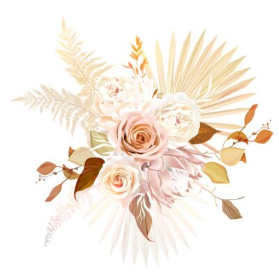Plakat Trendy dried palm leaves, blush pink rose, pale protea, white ranunculus, pampas grass vector