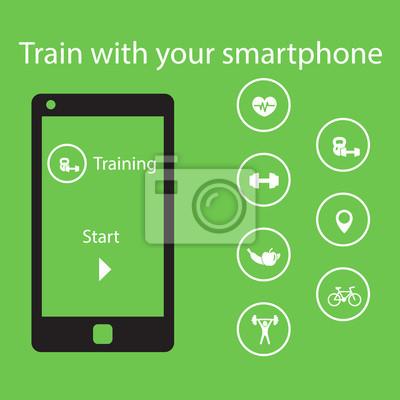 Trenuj z smartphone, ilustracji wektorowych, eps10