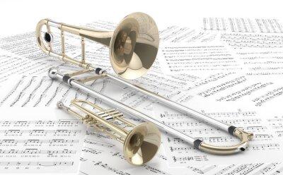 Plakat Trombón r Trompeta sobre partituras 2