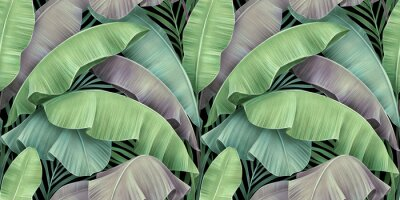 Plakat Tropical exotic seamless pattern of vintage pastel color banana leaves, palm foliage. Hand-drawn textured beautiful 3D illustration. Glamorous luxury background. Good for wallpapers, fabric printing.