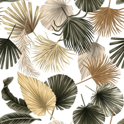 Plakat Tropical floral dried palm leaves seamless pattern white background. Exotic jungle wallpaper.