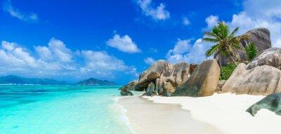 Plakat Tropical Paradise - Anse Źródło d'Argent - Plaża na wyspie La Digue na Seszelach